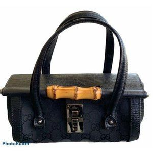 GUCCI Authentic Bamboo Bullet Bag Top Handle Black